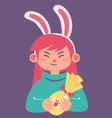 Cute Bunny Girl Holding a Chocolate Easter Egg vector image
