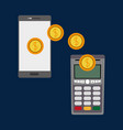 dataphone nfc payment wih coins and smartphone vector image vector image