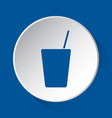 drink with straw simple blue icon on white button vector image