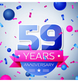 Fifty nine years anniversary celebration on grey vector image vector image