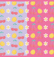 fresh cherries and oranges fruits pattern vector image vector image