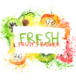 fresh fruit watercolor banner watercolored apple vector image vector image