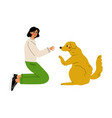 girl palying with dog volunteer taking care of vector image vector image