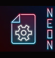 glowing neon line document settings with gears vector image vector image