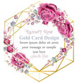 gold card frame with rose flowers watercolor vector image vector image