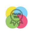 greeting thank you tag on ribbon vector image