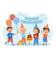 group happy children celebrating a birthday vector image vector image