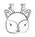 grunge happy deer head wild animal vector image vector image