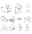 Hacker and hacking outline icons in set collection