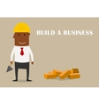 Happy businessman building a new business vector image