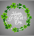 happy stpatricks day in a circle clover vector image vector image