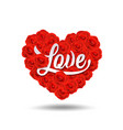 happy valentines day love message design on rose vector image vector image
