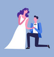 husband and wife bride in dress and groom in vector image
