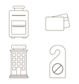 isolated icon set of hotel service design vector image vector image