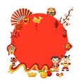 japan travel banner with red circle dragon vector image