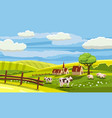 lovely country rural landscape cow grazing farm vector image vector image
