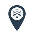 map location icon with snowflake vector image vector image