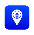 map pointer with church icon digital blue vector image