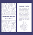 marine theme banner template with place for text vector image vector image