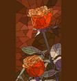 mosaic red roses flowers vector image vector image
