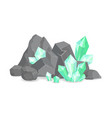 natural resources crystals among rocks and stones vector image vector image