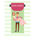 newlyweds bride and groom vector image