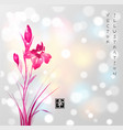 pink iris flowers hand drawn with ink on white vector image vector image