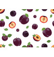 plum fruits and slice seamless pattern with on vector image