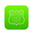 route 66 shield icon green vector image