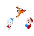 Santa deer and snowman with blank sign vector image