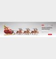 santa in sleigh with reindeers merry christmas vector image