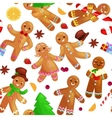 Seamless pattern christmas cookies gingerbread man vector image