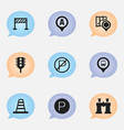 set of 9 editable map icons includes symbols such vector image vector image