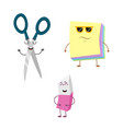 set of funny characters from eraser scissors vector image vector image