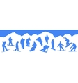 silhouettes snowboarders vector image vector image