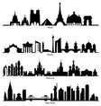 skyline paris berlin moscow and new york vector image