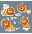 Sticker set of cartoon lion action vector image