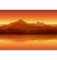 sunset in huge mountains near lake vector image vector image