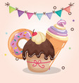 sweet and delicious cupcake with donut and ice vector image vector image