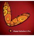 Valentine day card with circle inside heart vector image