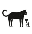with woman holding heart and huge black cat vector image