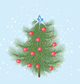 Furry Christmas tree with red balls and a crystal vector image
