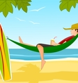 Young surfer on a beach vector image