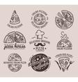 Pizza Label Design Typographic Set vector image