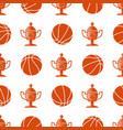 sport seamless pattern with basketball ball and vector image