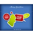 Five hanging text boxes with Christmas tree and vector image