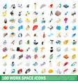 100 work space icons set isometric 3d style vector image vector image
