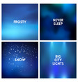 abstract blue winter blurred background set vector image vector image