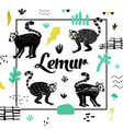 bashower design with cute lemur vector image vector image