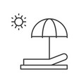 beach chair umbrella and sun sun bath outline icon vector image